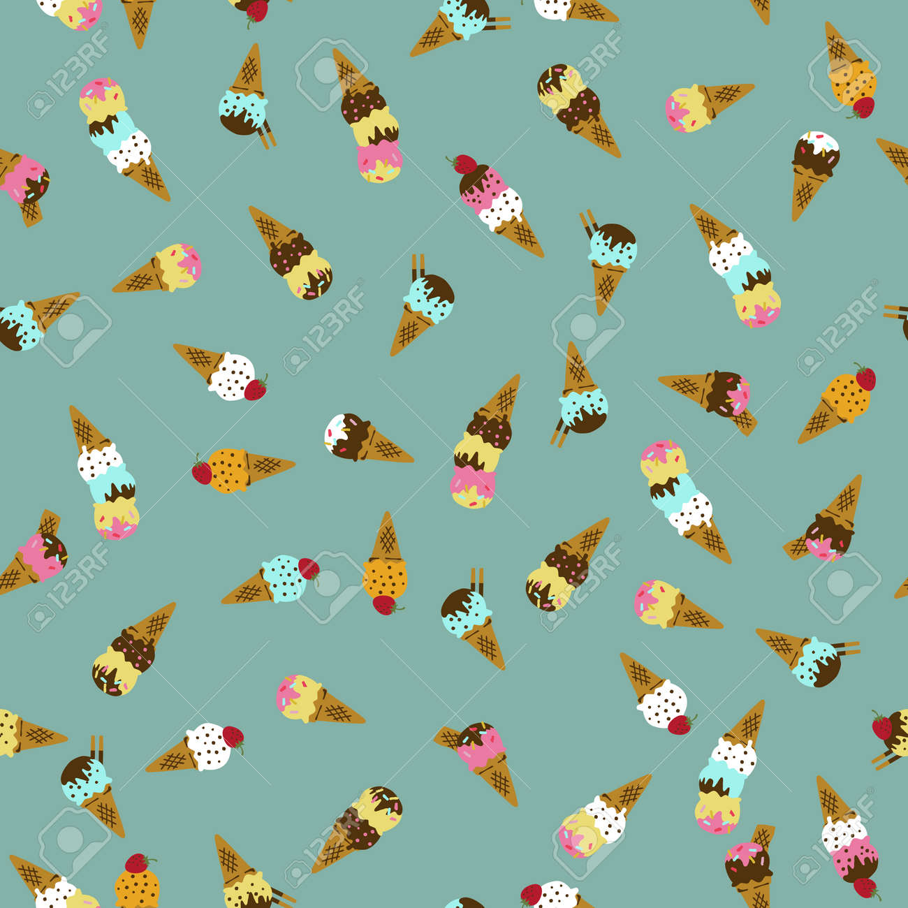 Ice cream pattern. Seamless pattern. Material for wallpaper and wrapping paper. Textile design. - 169172693