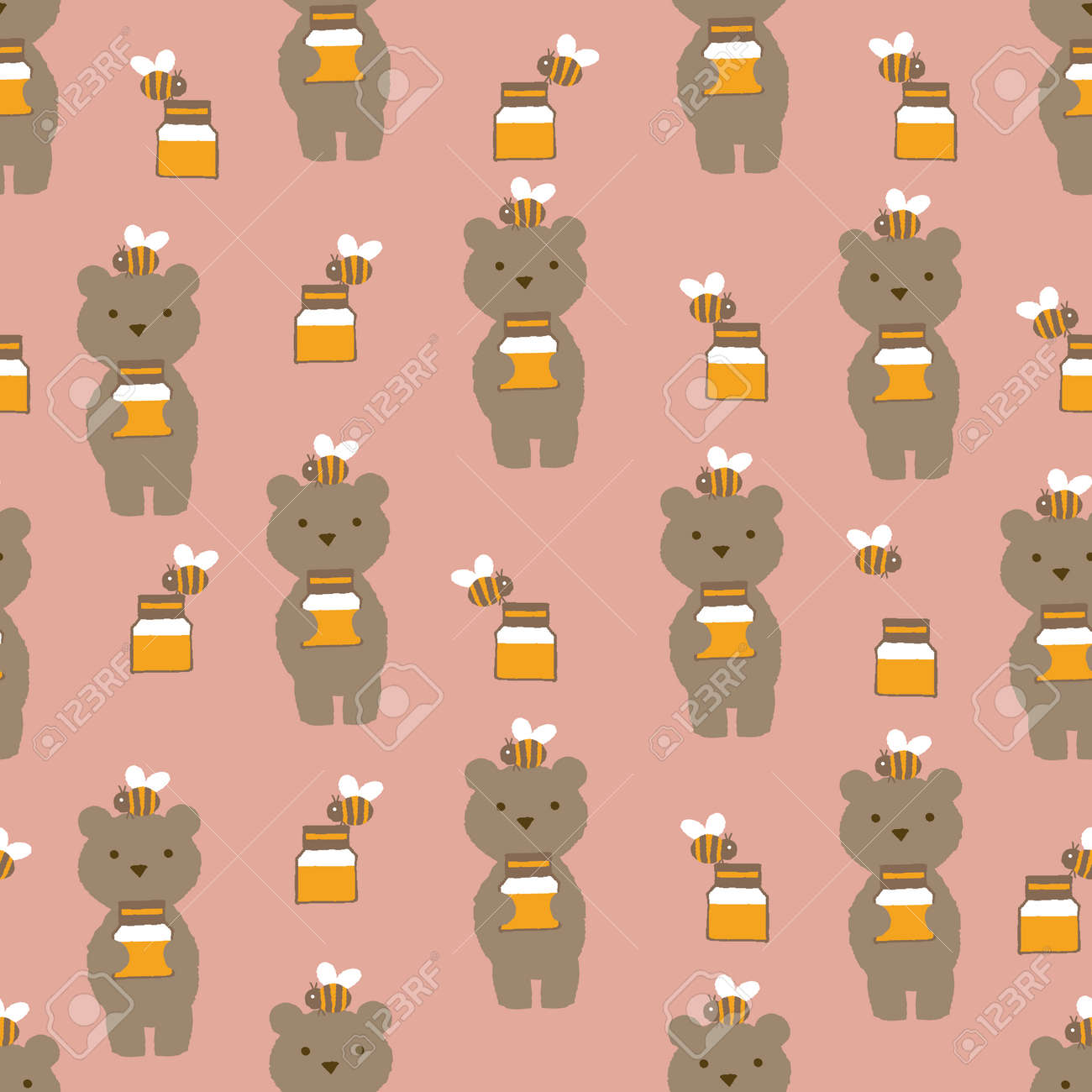 Teddy bear and honey pattern. Seamless pattern. Material for wallpaper and wrapping paper. Textile design. - 169494385