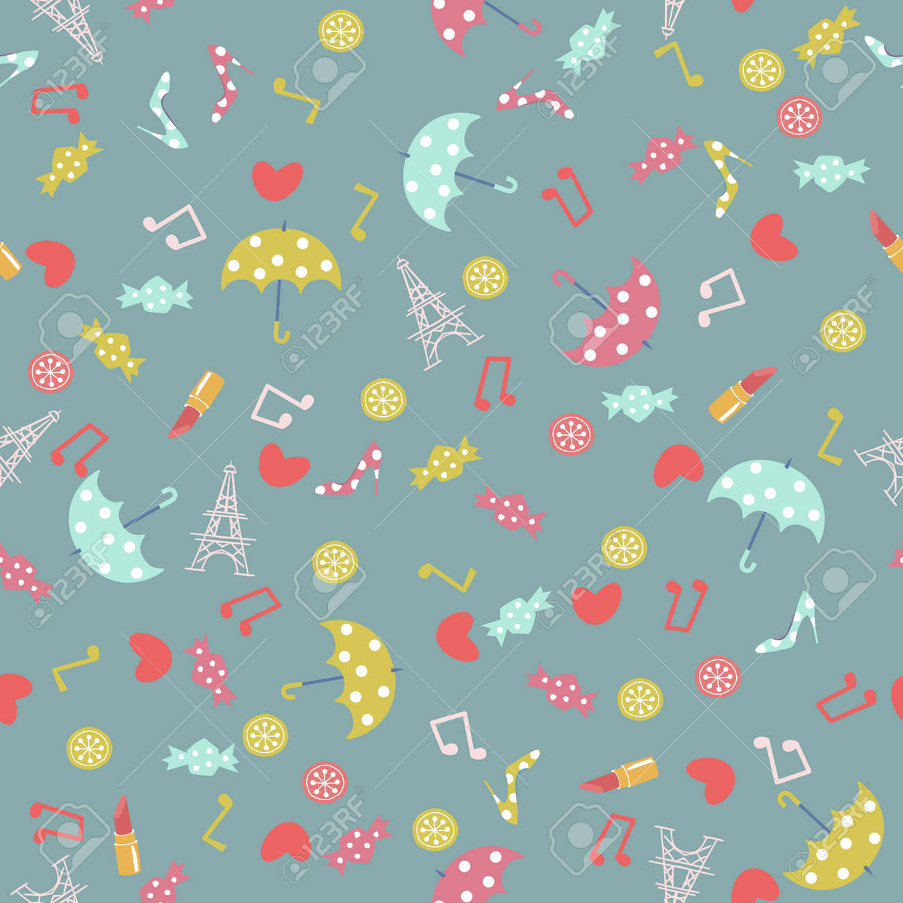 Paris accessory pattern. Seamless pattern. Material for wallpaper and wrapping paper. Textile design. - 169494555