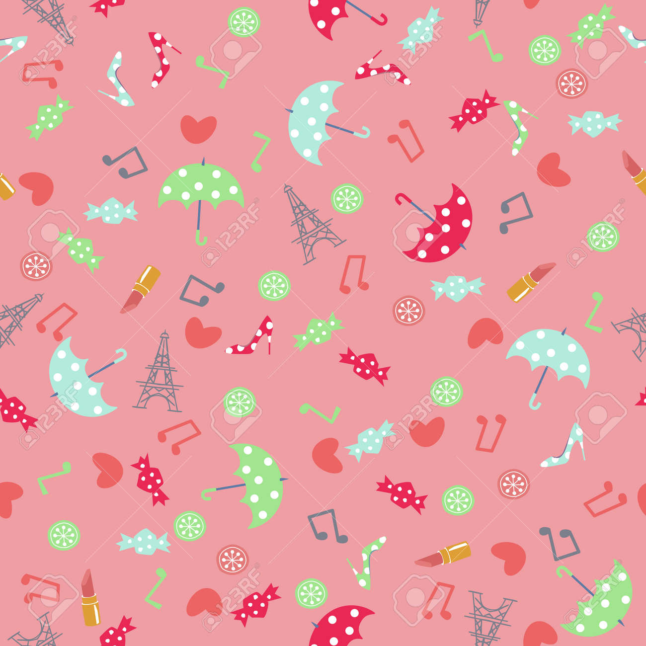 Paris accessory pattern. Seamless pattern. Material for wallpaper and wrapping paper. Textile design. - 169494557