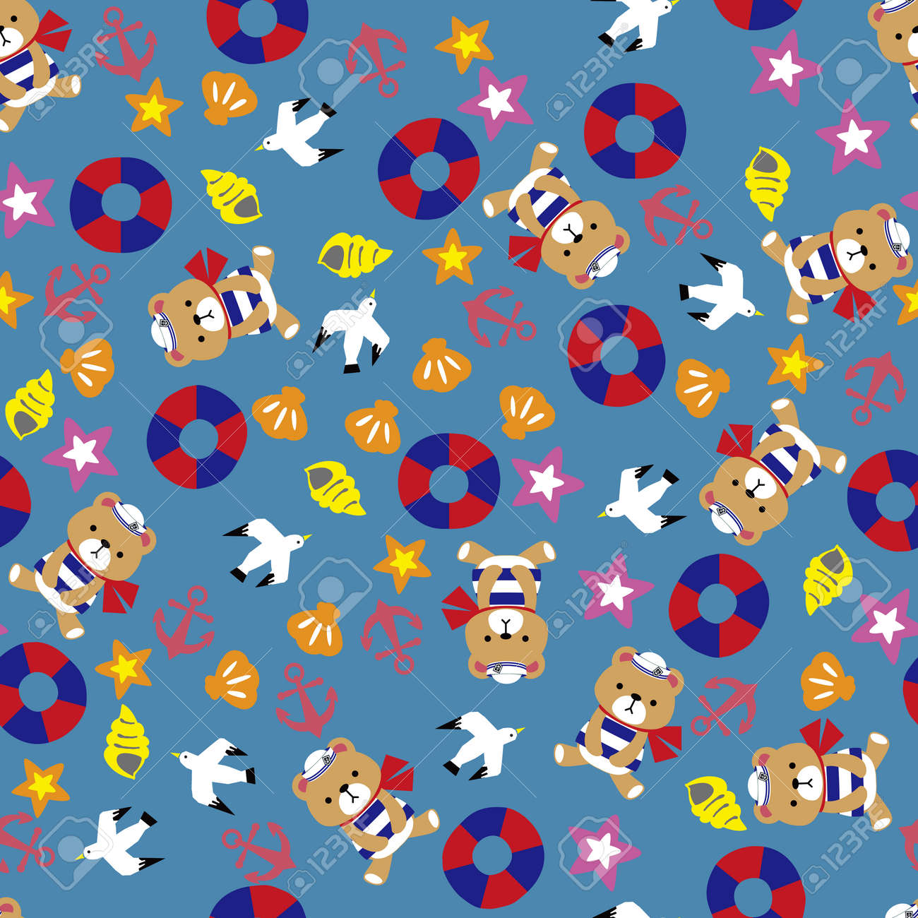 Sea and teddy bear pattern. Seamless pattern. Material for wallpaper and wrapping paper. Textile design. - 169494558