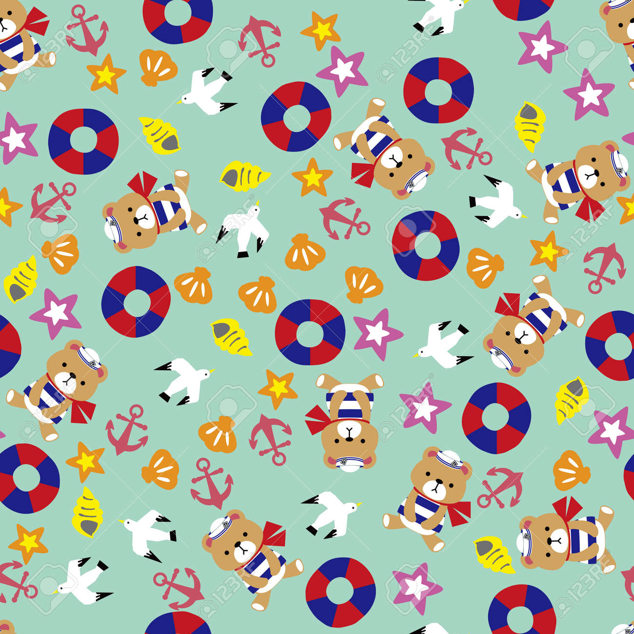 Sea and teddy bear pattern. Seamless pattern. Material for wallpaper and wrapping paper. Textile design. - 169351503
