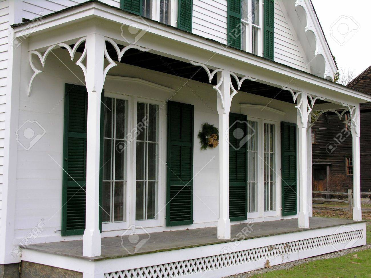 Front Porch Of Old Victorian Style House Stock Photo Picture And