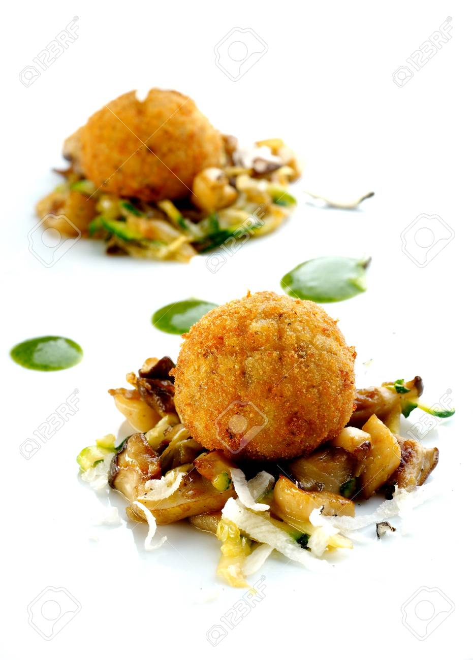 Fried chamipgnons with cheese and vegetable sauce Stock Photo - 4064974
