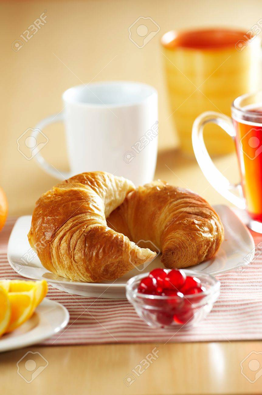 Fresh French croissant for breakfast Stock Photo - 4065257