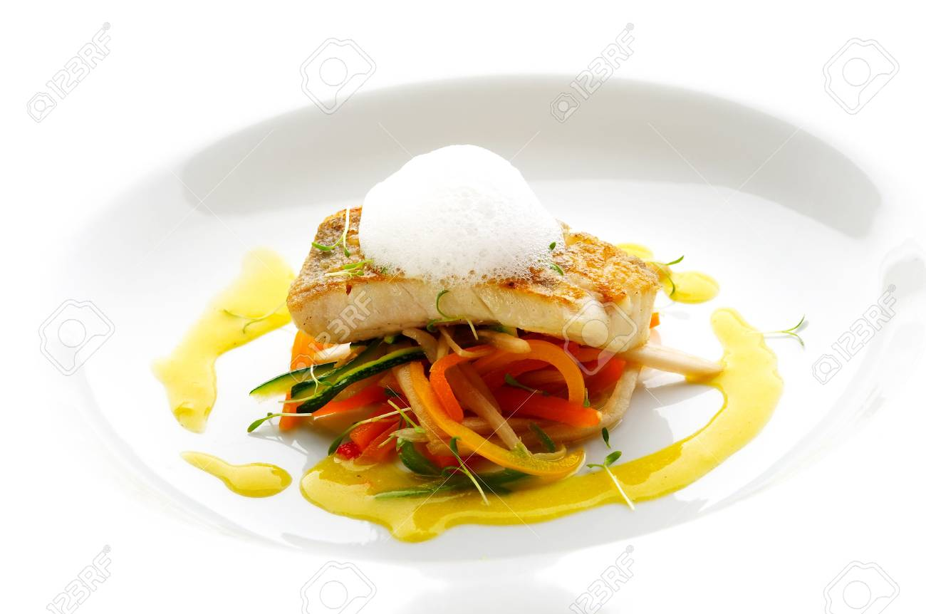Trout fillet with lemon cream on different vegetable Stock Photo - 4065210