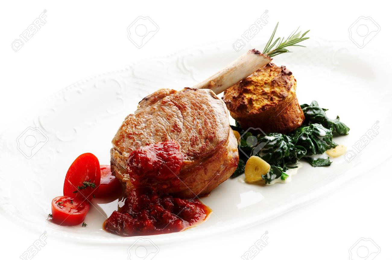 Grilled calf steak with vegetables Stock Photo - 4065219