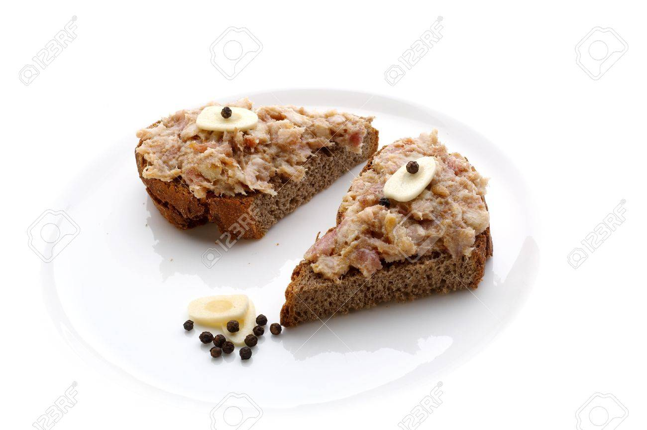 Two slices of bread with minced lard and garlic Stock Photo - 4065247