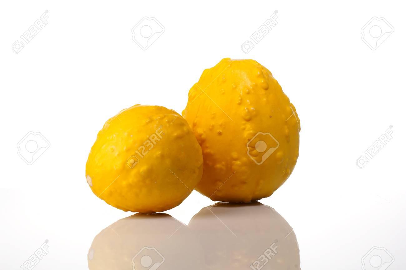 Studio shot of two yellow pumpkins Stock Photo - 4065208