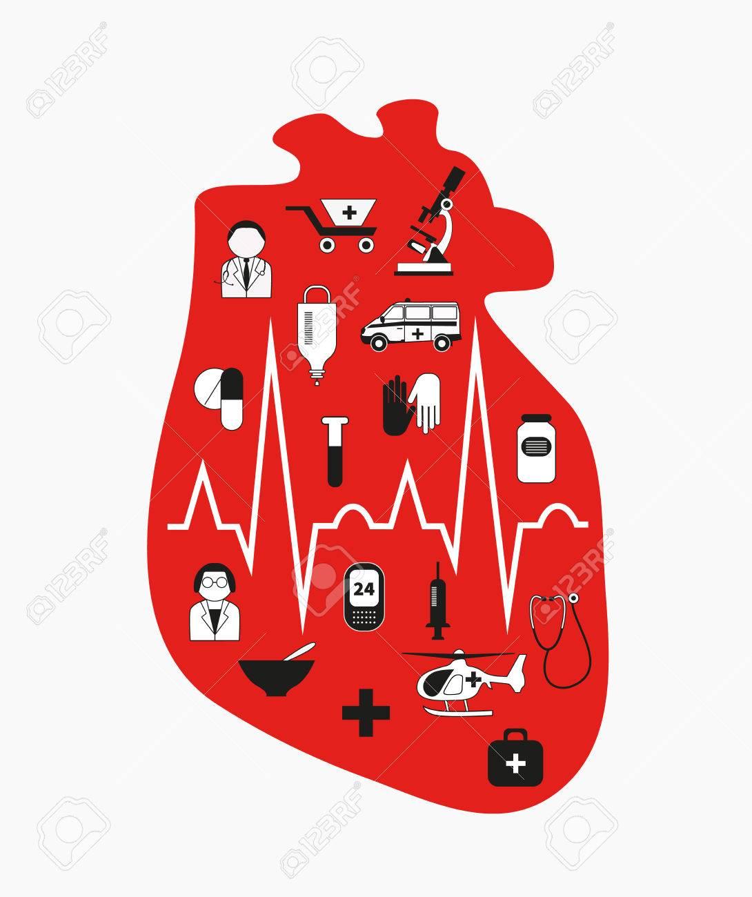La Insuficiencia Cardíaca. Corazón Rojo Anatómica Con Los Iconos De ...