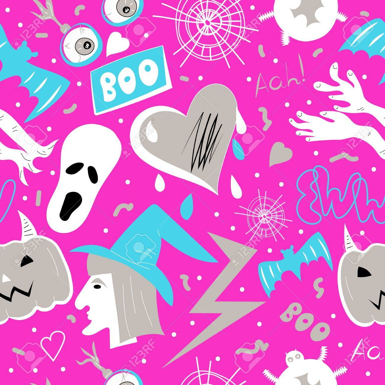 Halloween Background Glamour Holiday Vector Pink Seamless Pattern Witch Eyeball Lightning