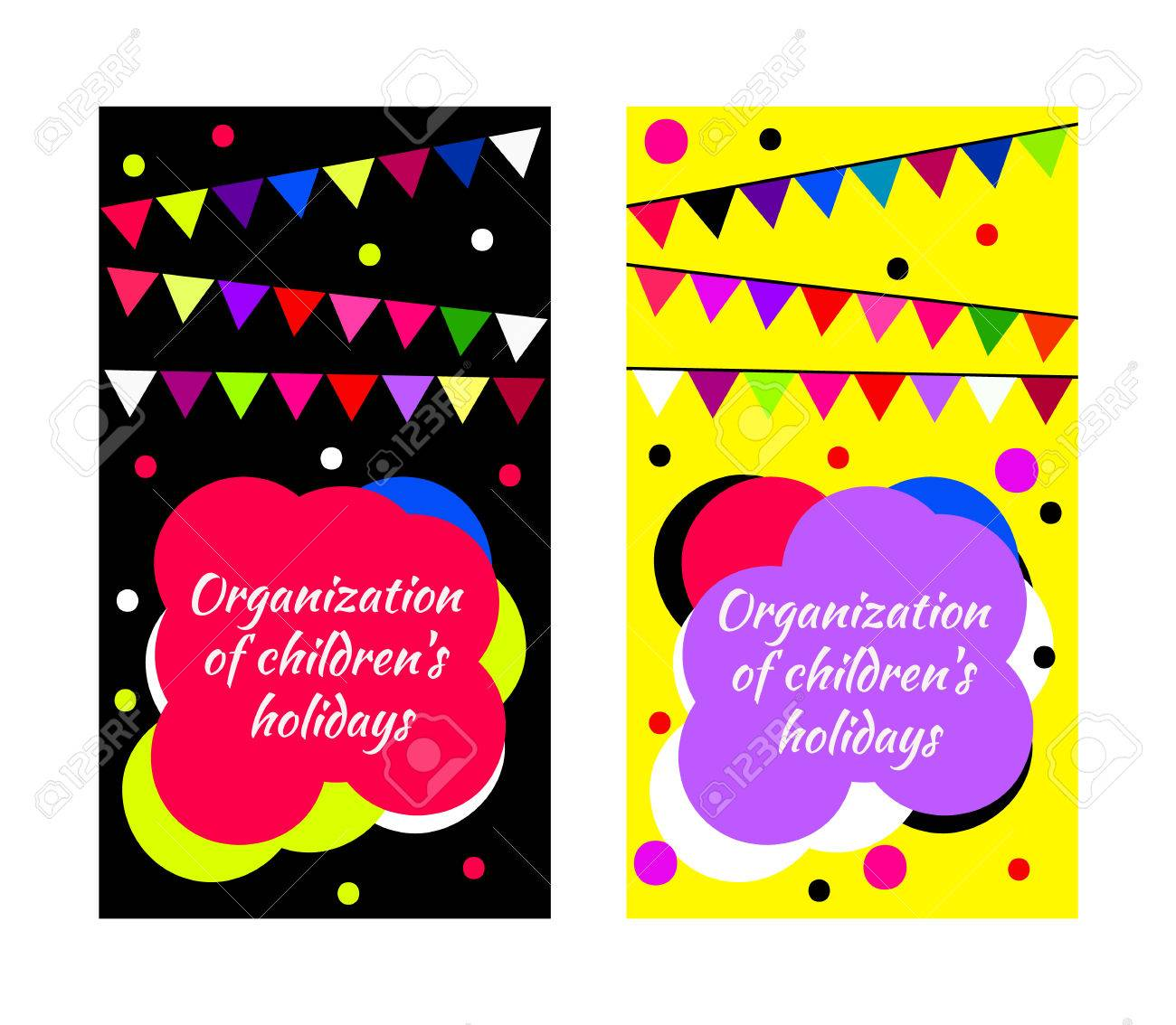 Childrens Party Business Card Vector Cute Bright Set With Flags - Kid business card template