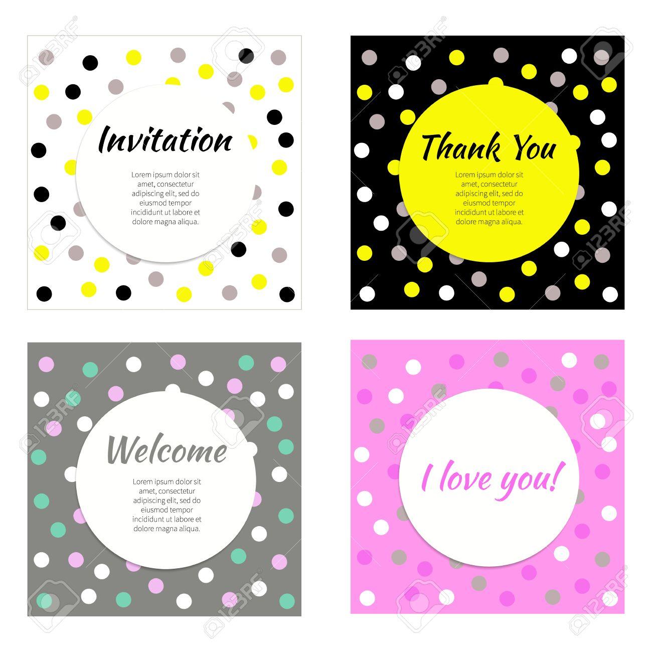 Einladung, Grußkarten. Vector Reihe Von Frames, Banner, Postkarten ...