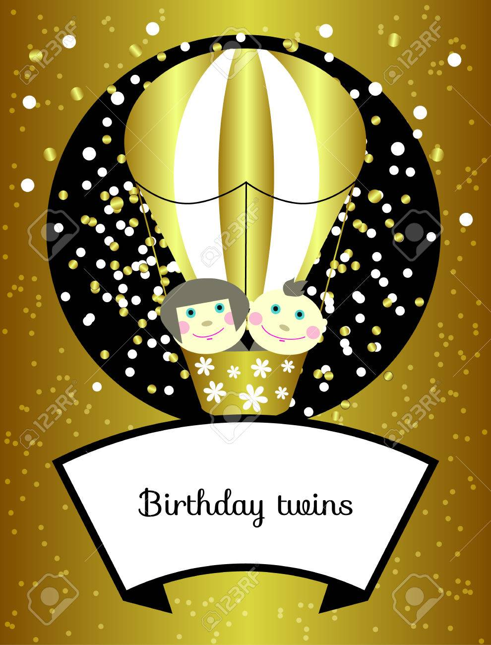 Twins Birthday Vector Shining Gold Greeting Card Invitation Little Smiling Girl And Boy