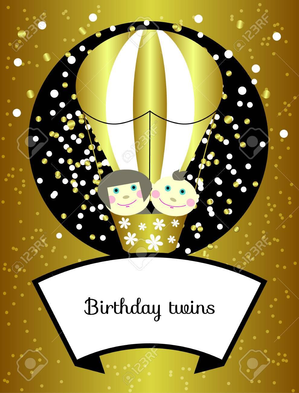 Zwillinge Geburtstag Vector Glanzende Gold Grusskarten Einladungen