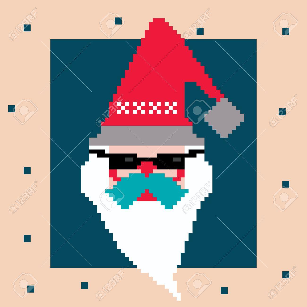 Pixel Père Noël Personnage De Dessin Animé Vecteur Dans Le Chapeau Rouge Et Des Lunettes Noires Barbe Blanche Et Moustache Bleue