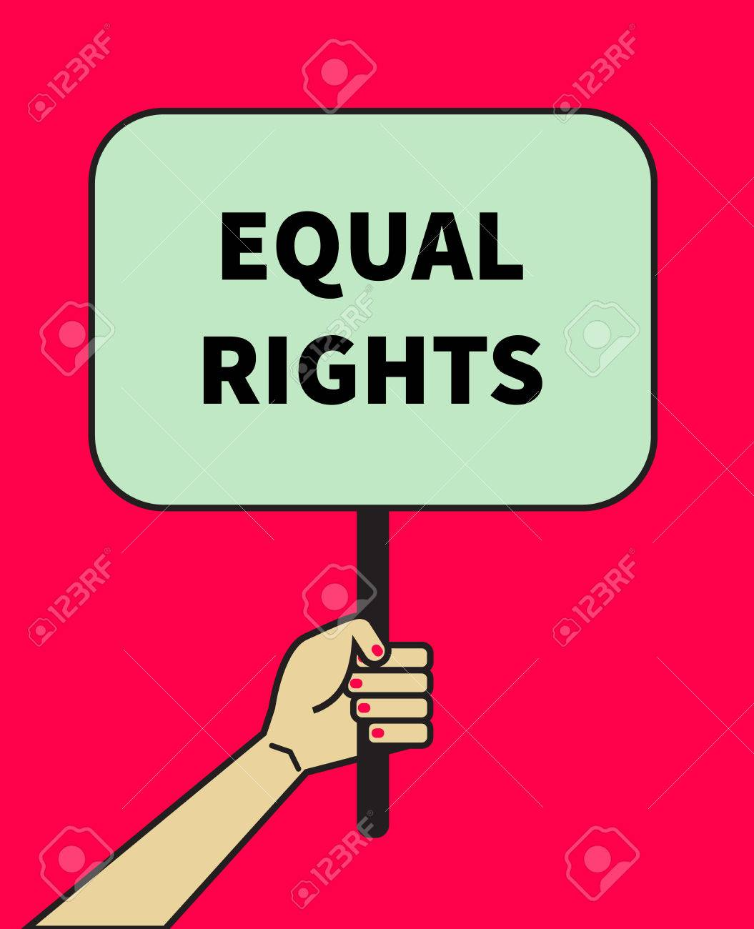 Female hand holding banner of equal rights symbol of feminism female hand holding banner of equal rights symbol of feminism struggle for womens equality buycottarizona Image collections