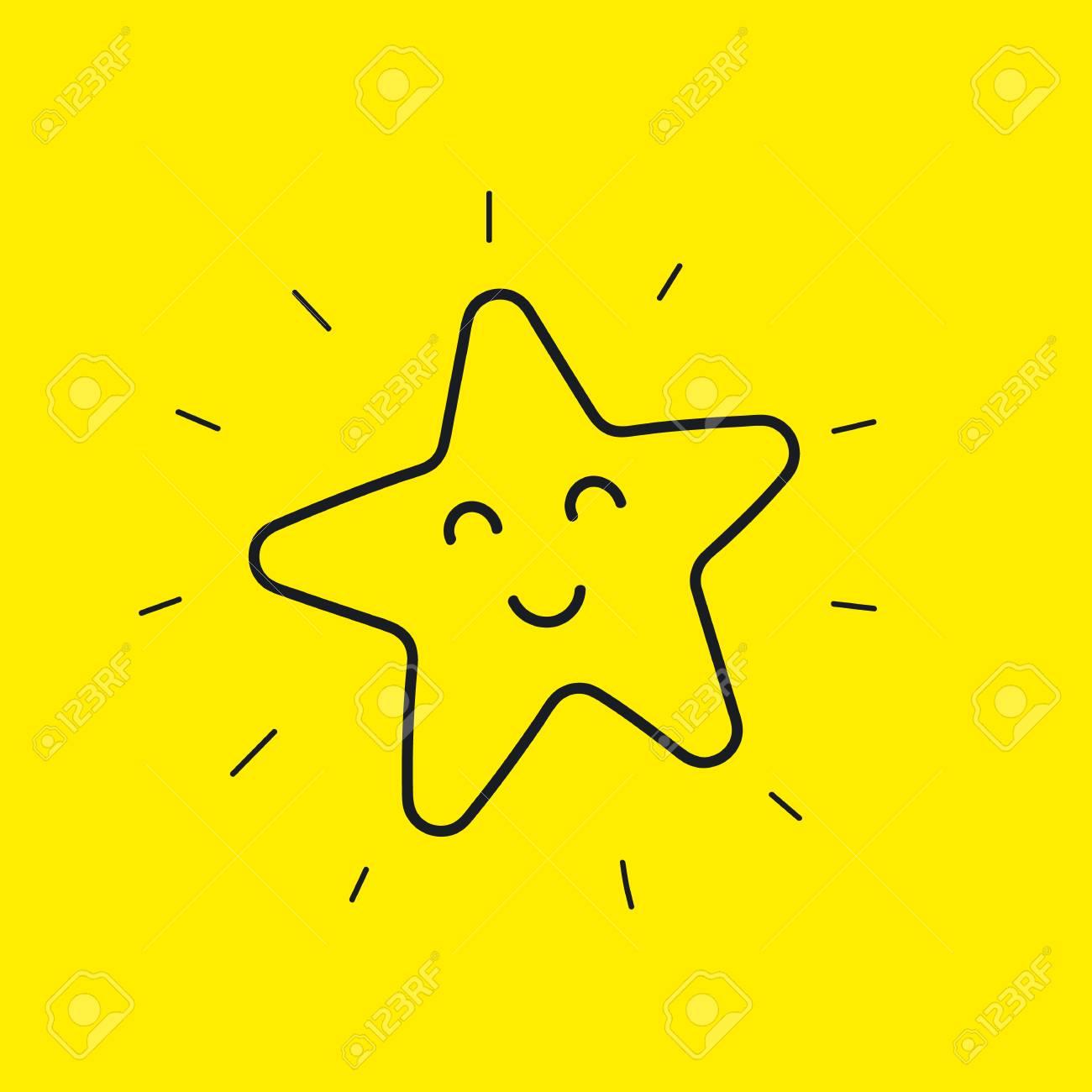 Bonne Etoile Smiley Icone De Ligne Dessines A La Main Bonne Journee Isolee Sur Jaune Emoticone De Fleur Heureuse Emoticone Illustration Vectorielle Clip Art Libres De Droits Vecteurs Et Illustration Image 74807977