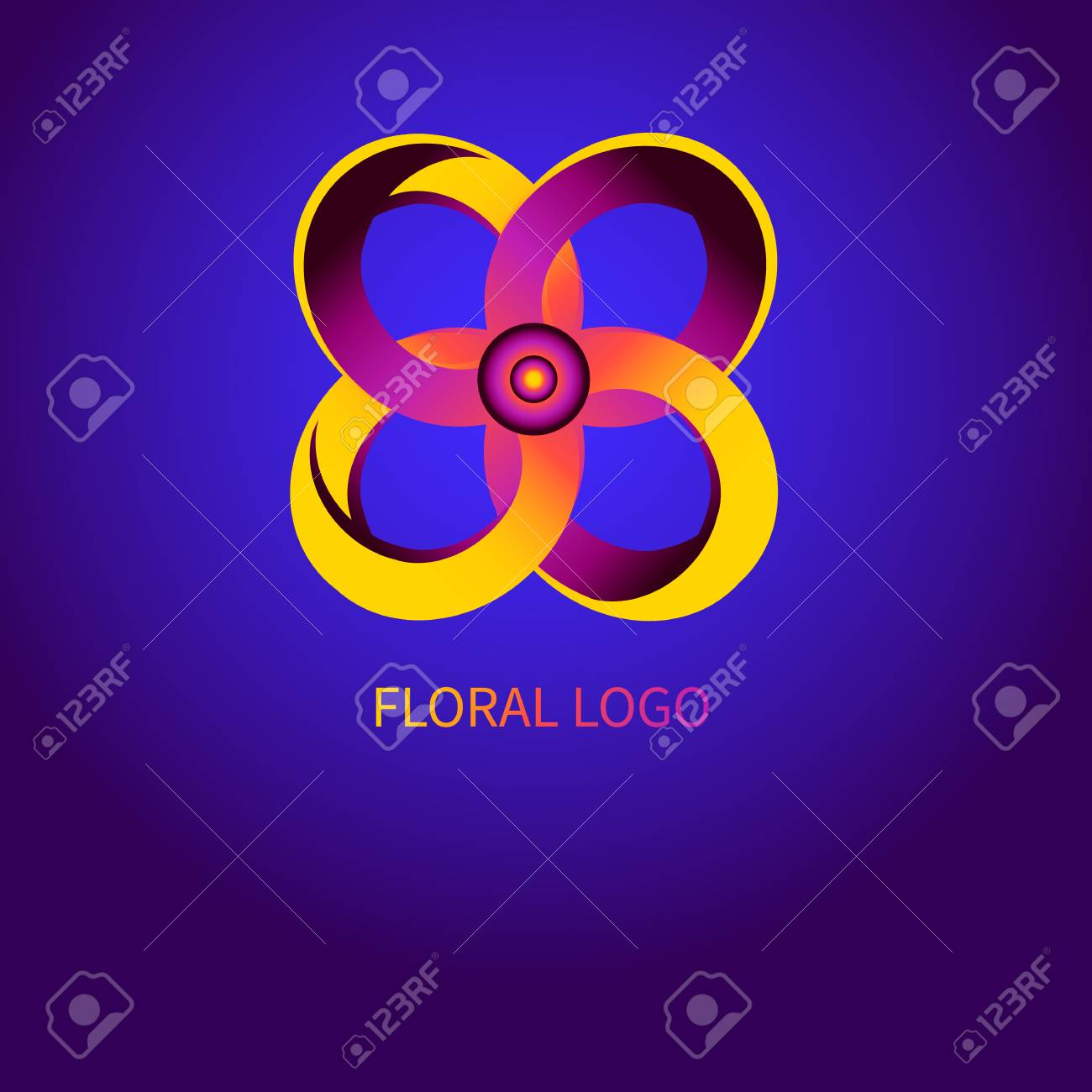 Abstract gradient flower logo, icon for ordering online  Banner