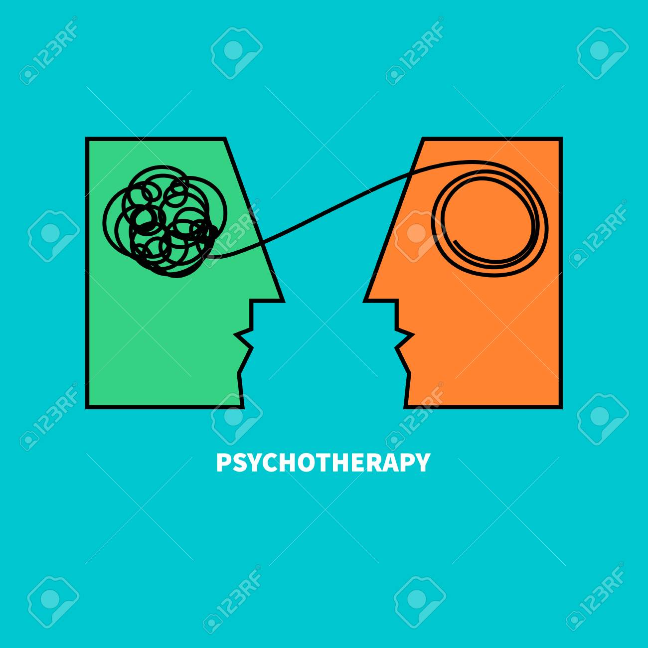Logo psychotherapy. Two heads with confusing tangle of threads. Vector illustration. Vector illustration - 77991191