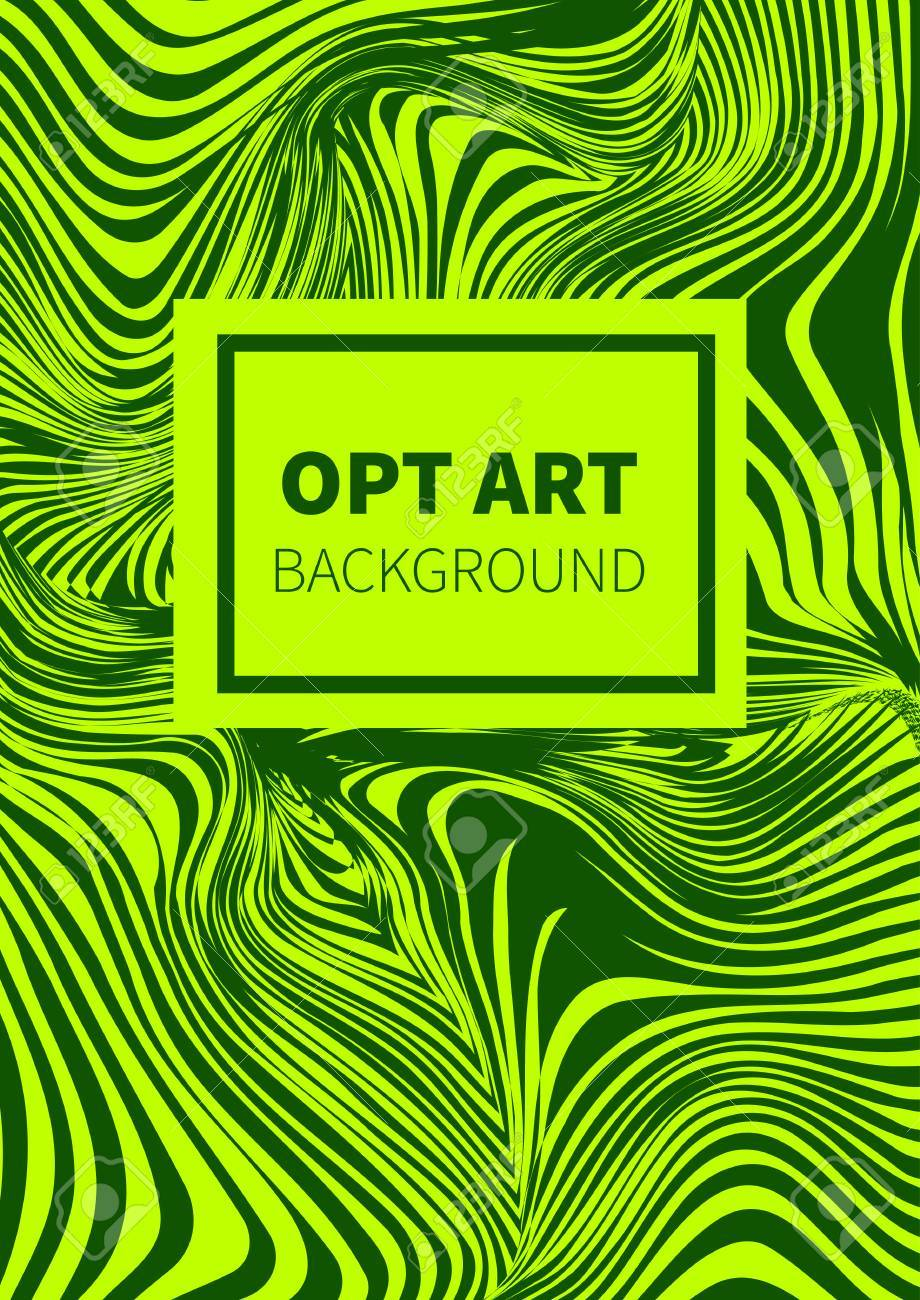 Abstract Green Background Optical Illusion. Cover Template, Banner ...