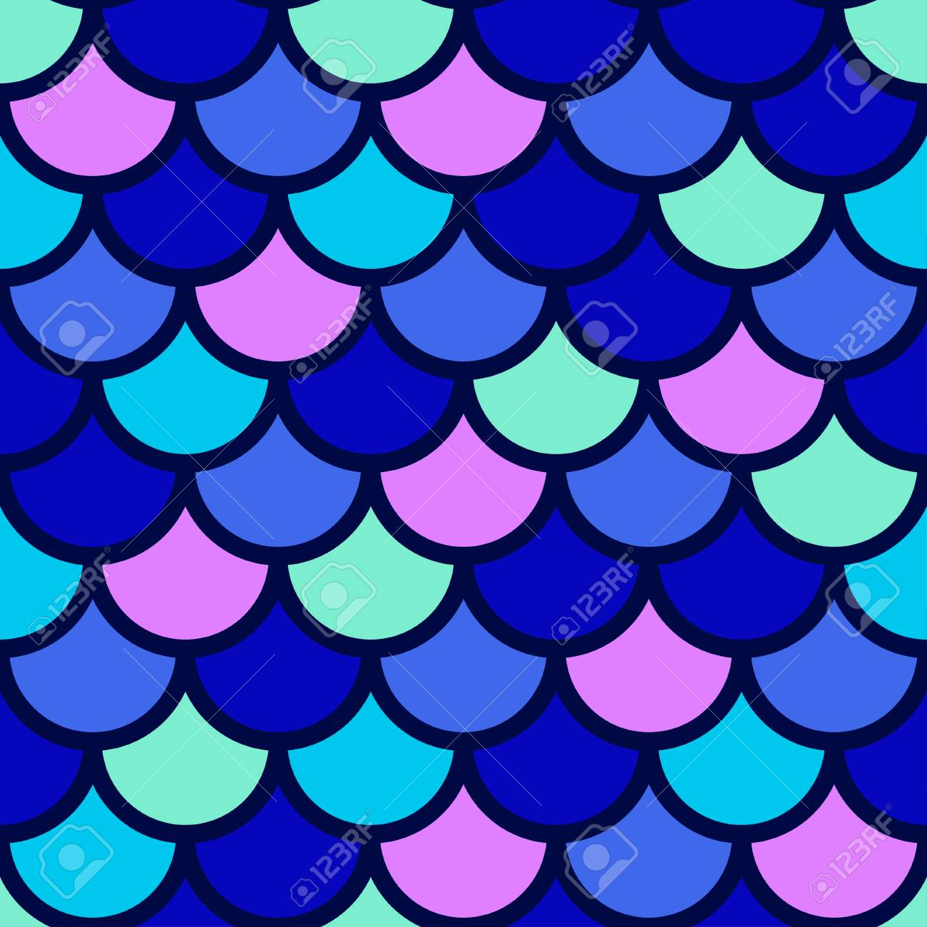 Traditional Japanese seamless pattern. Blue bright colored fish squama. Mermaid scales. Stock vector - 84822097