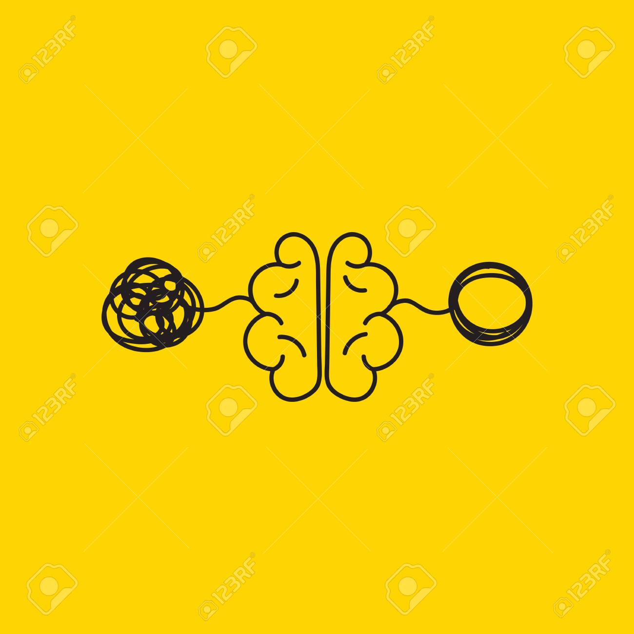tangle and untangle, creative concept, brain activity, vector psychology sign - 135664588