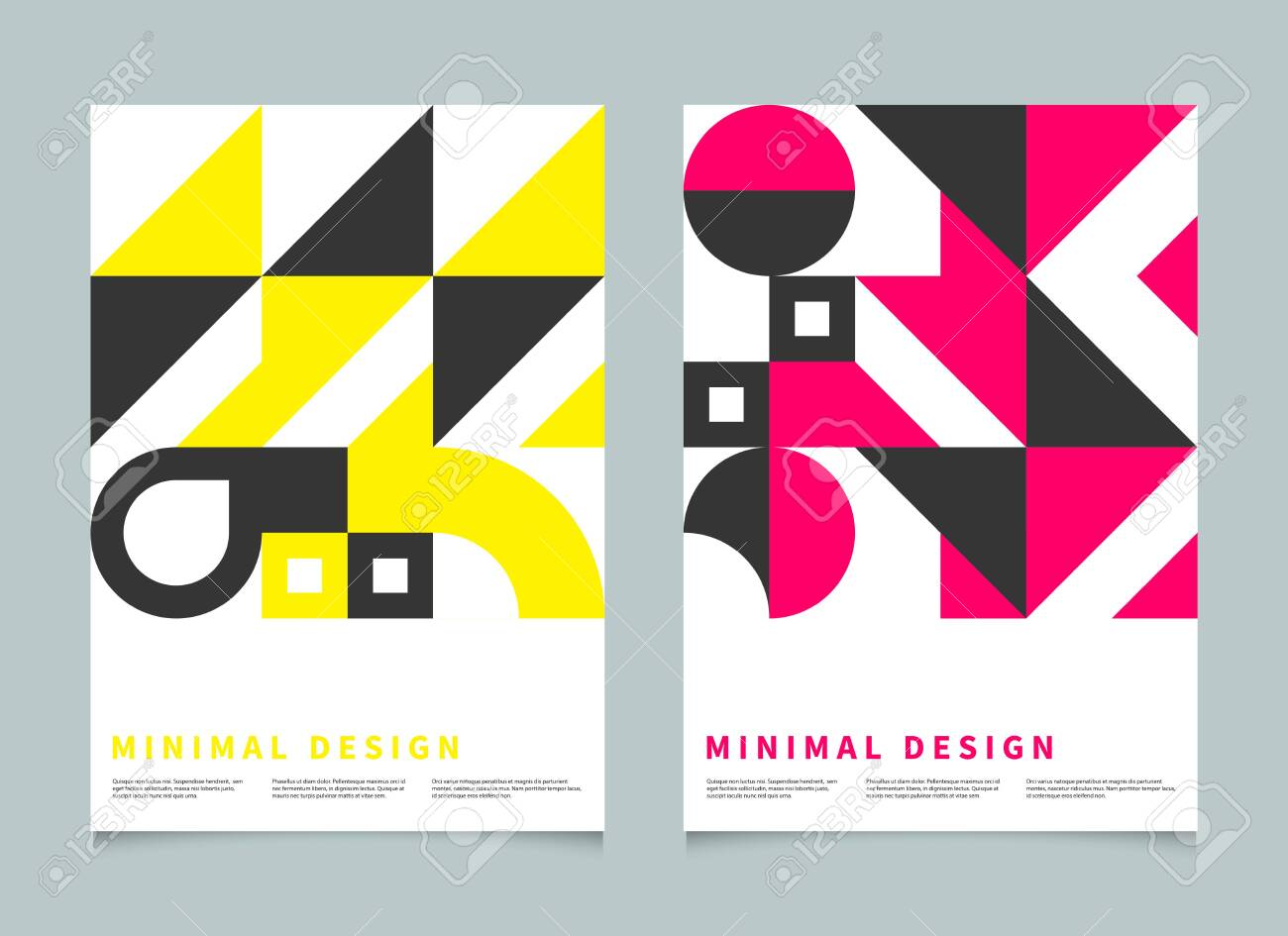 Bauhaus geometric minimal poster, cover for booklet, brochure, vector color template, swiss pattern - 138100276