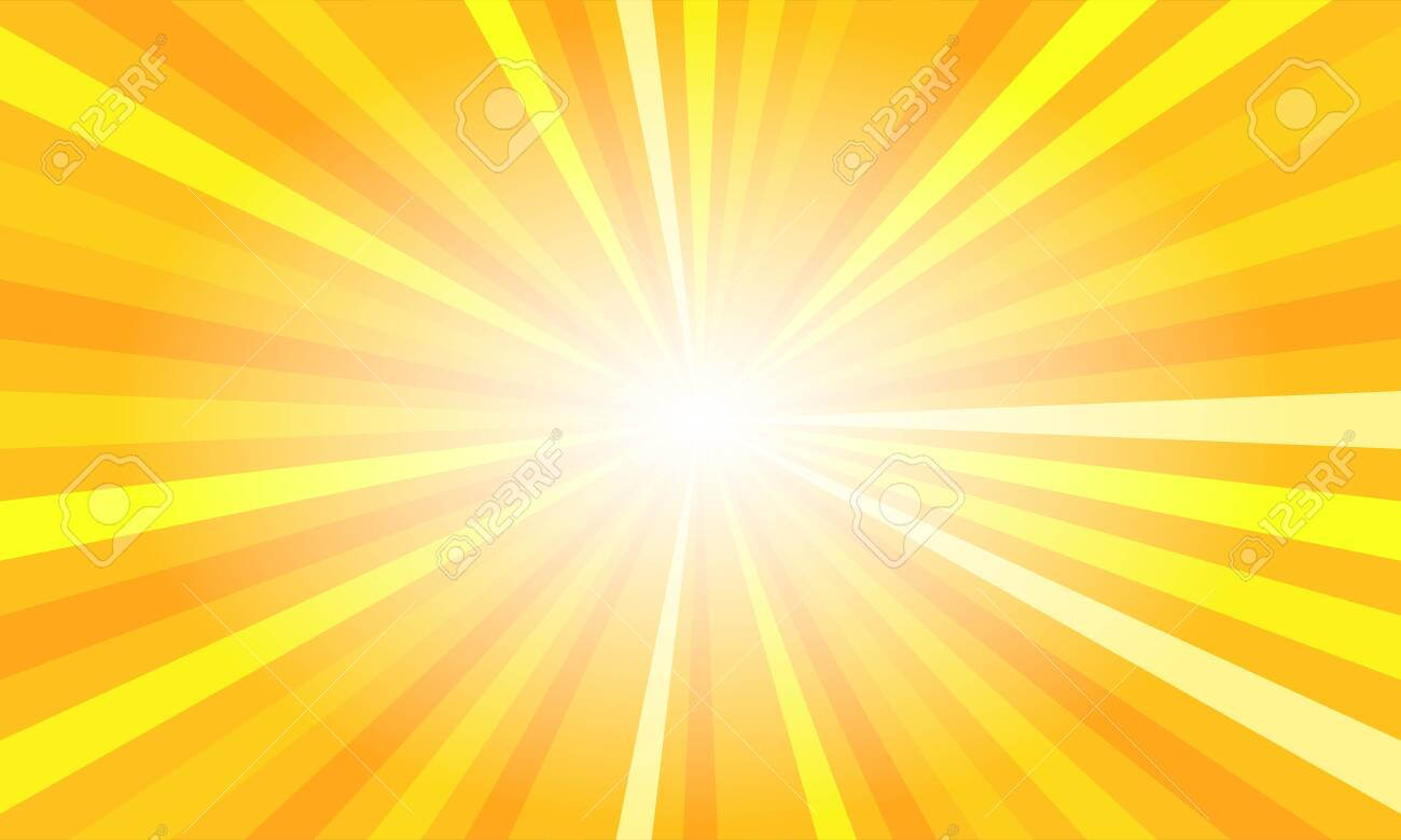 Yellow sun rays. Summer banner with burst - 155234311