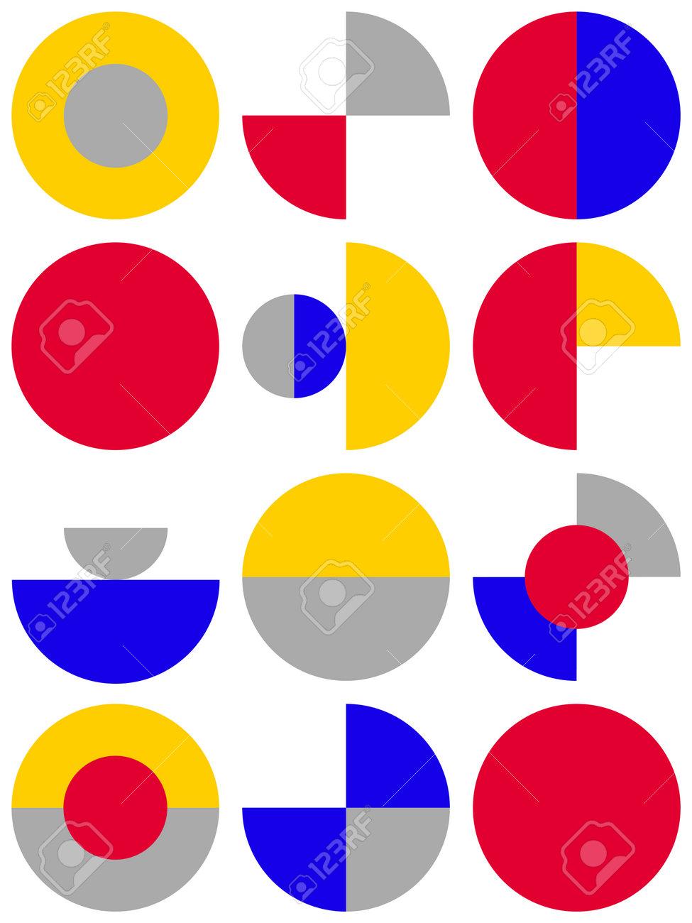 Trendy bauhaus pattern. Bauhaus poster. Vector geometric abstract circle shapes - 161245966