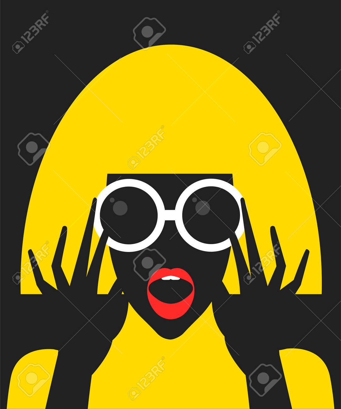 Surprised cartoon girl with sunglasses in flat style - 167305069