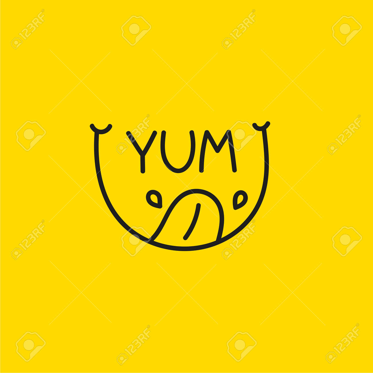 Yum icon with smile, tongue and saliva. Abstract line - 167305076