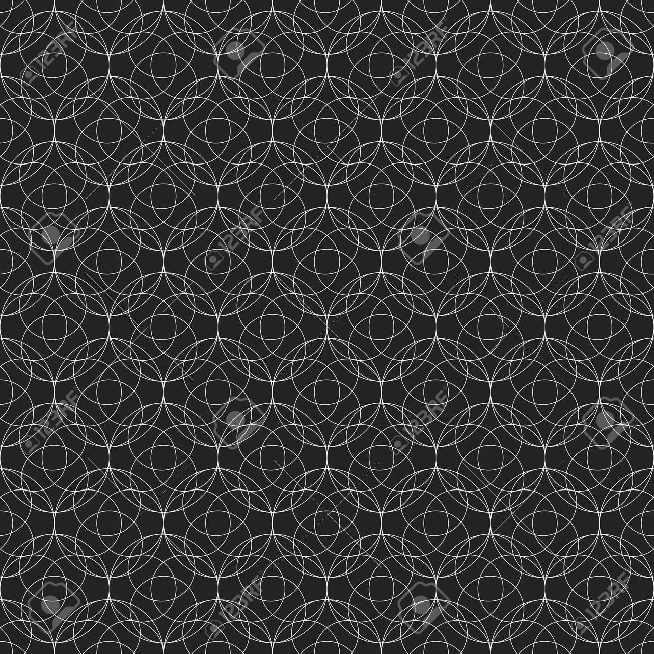 Lace seamless pattern with thin lines in shape of circles - 167305081