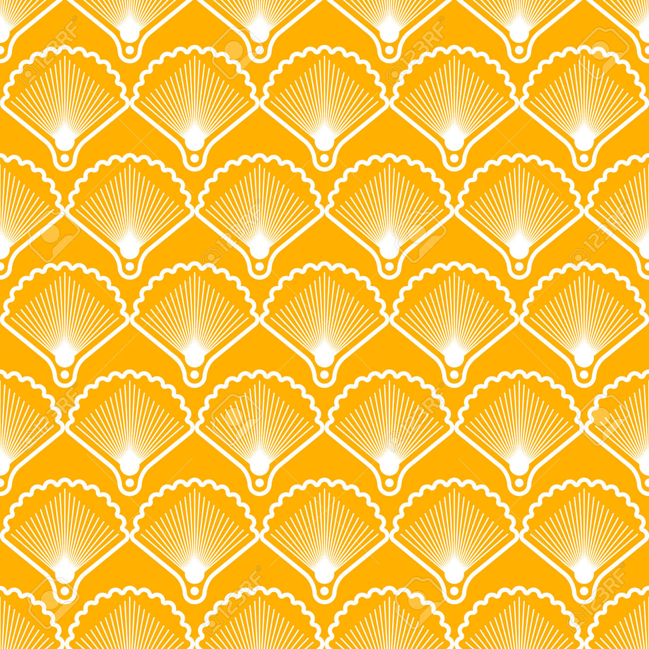 Elegant seamless pattern in art deco style. Background with shells for wallpaper - 167305083