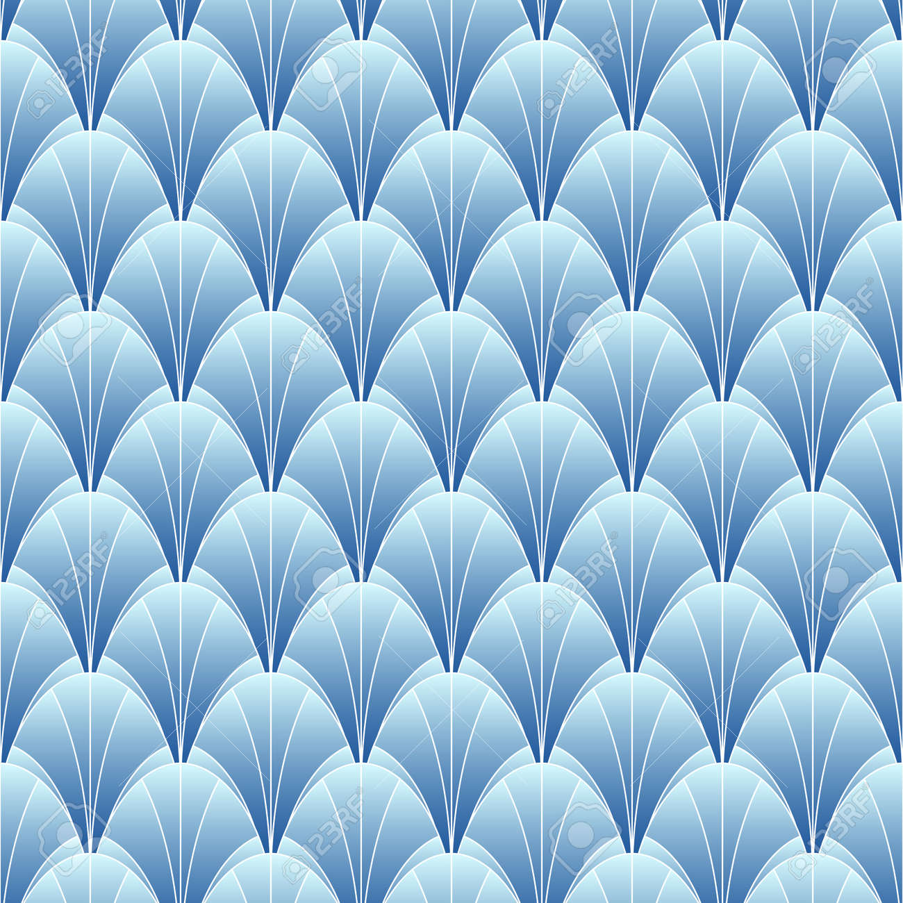 Elegant seamless pattern in art deco style. Background with shells for wallpaper - 167305087