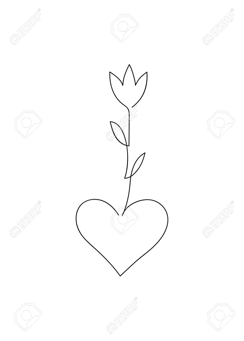 Heart and flower drawn with continuous thin black line - 171218277
