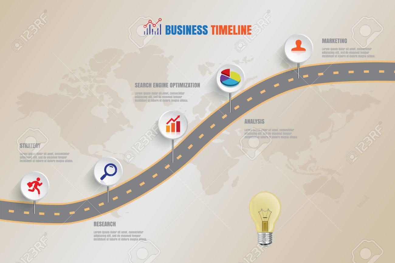 design template creative business timelineroad map vector illustration stock vector 57442804