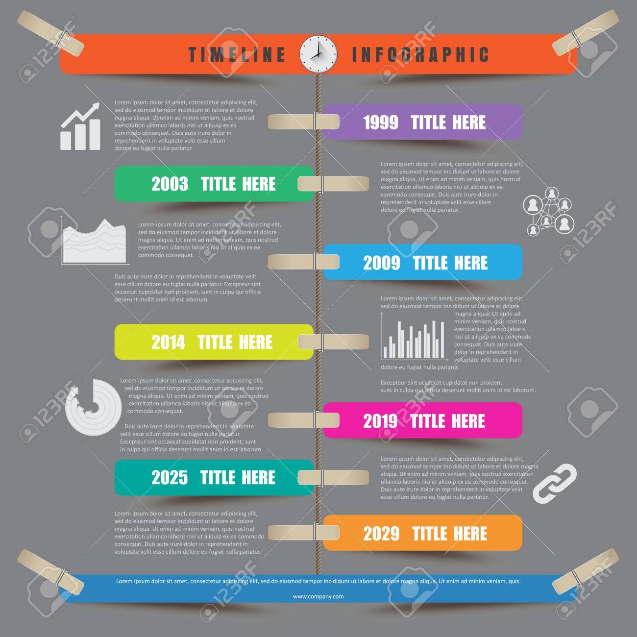 Línea De Tiempo Infografía Plantilla De Informe Que Cuelga De Una ...