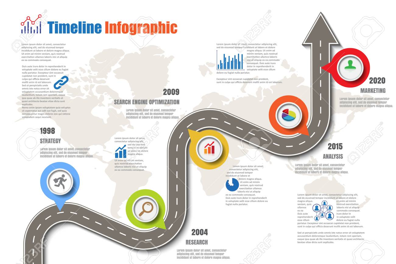 design template road map timeline infographic vector illustration stock vector 78063914