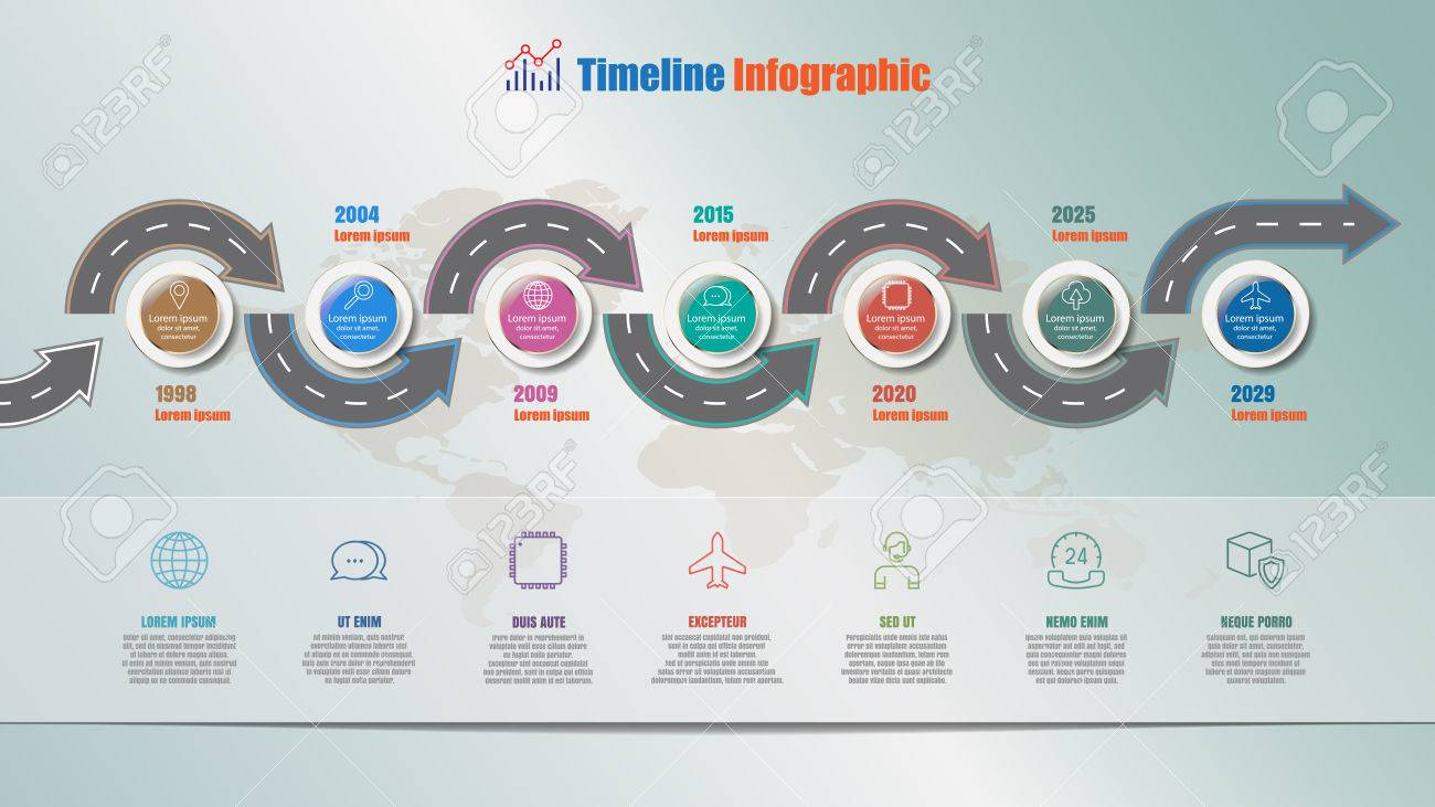 Business road map timeline infographic with 7 steps circle designed banco de imagens business road map timeline infographic with 7 steps circle designed for background elements diagram planning process webpages workflow ccuart Image collections