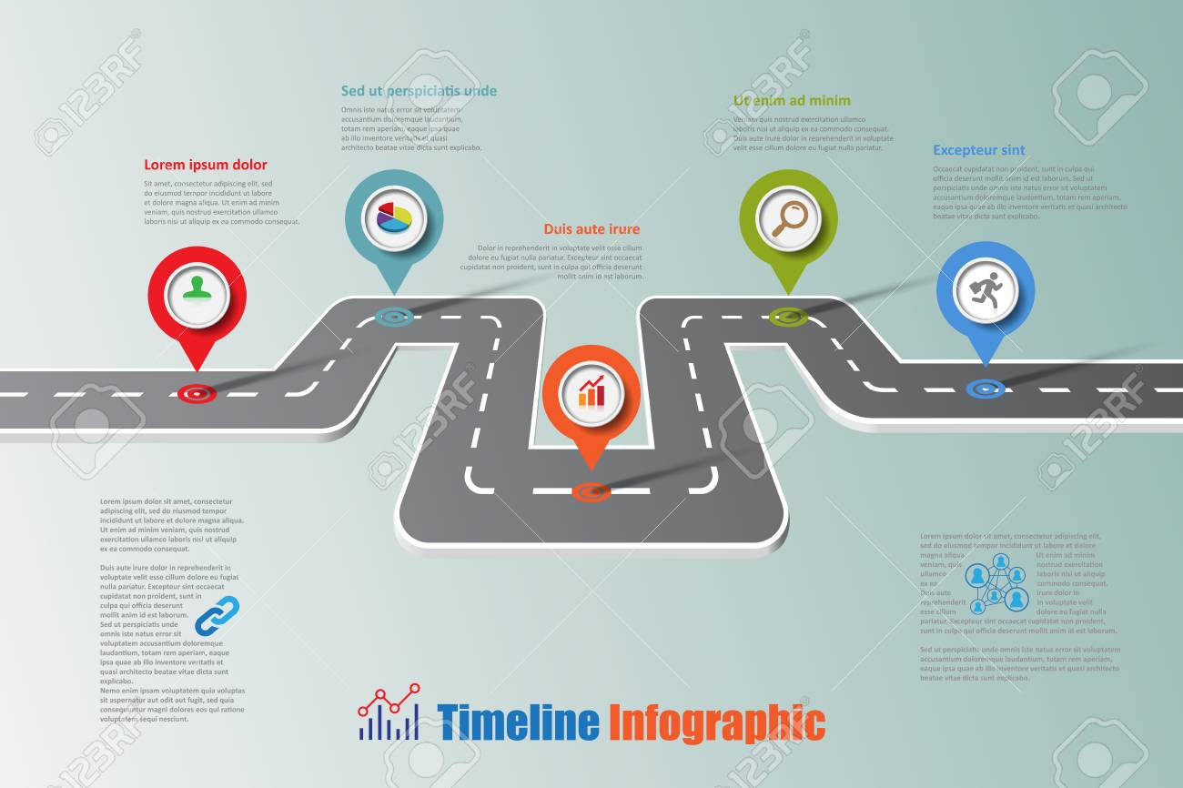 business road map timeline infographic icons designed for abstract background template elements modern diagram process web