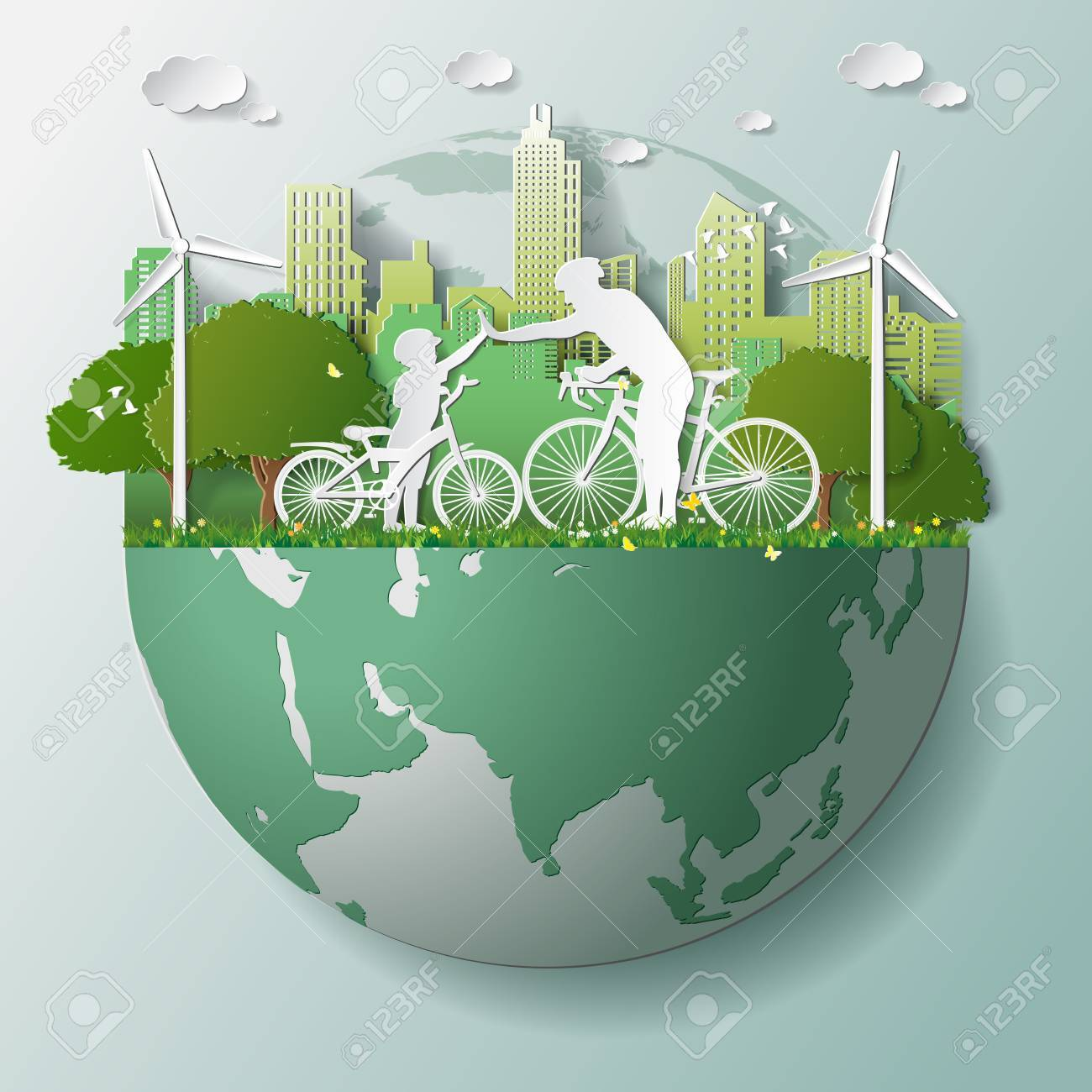 Paper folding art origami style vector illustration. Green renewable energy ecology technology power saving environmentally friendly concepts, father son join hands cycling in parks near city on globe - 83237394