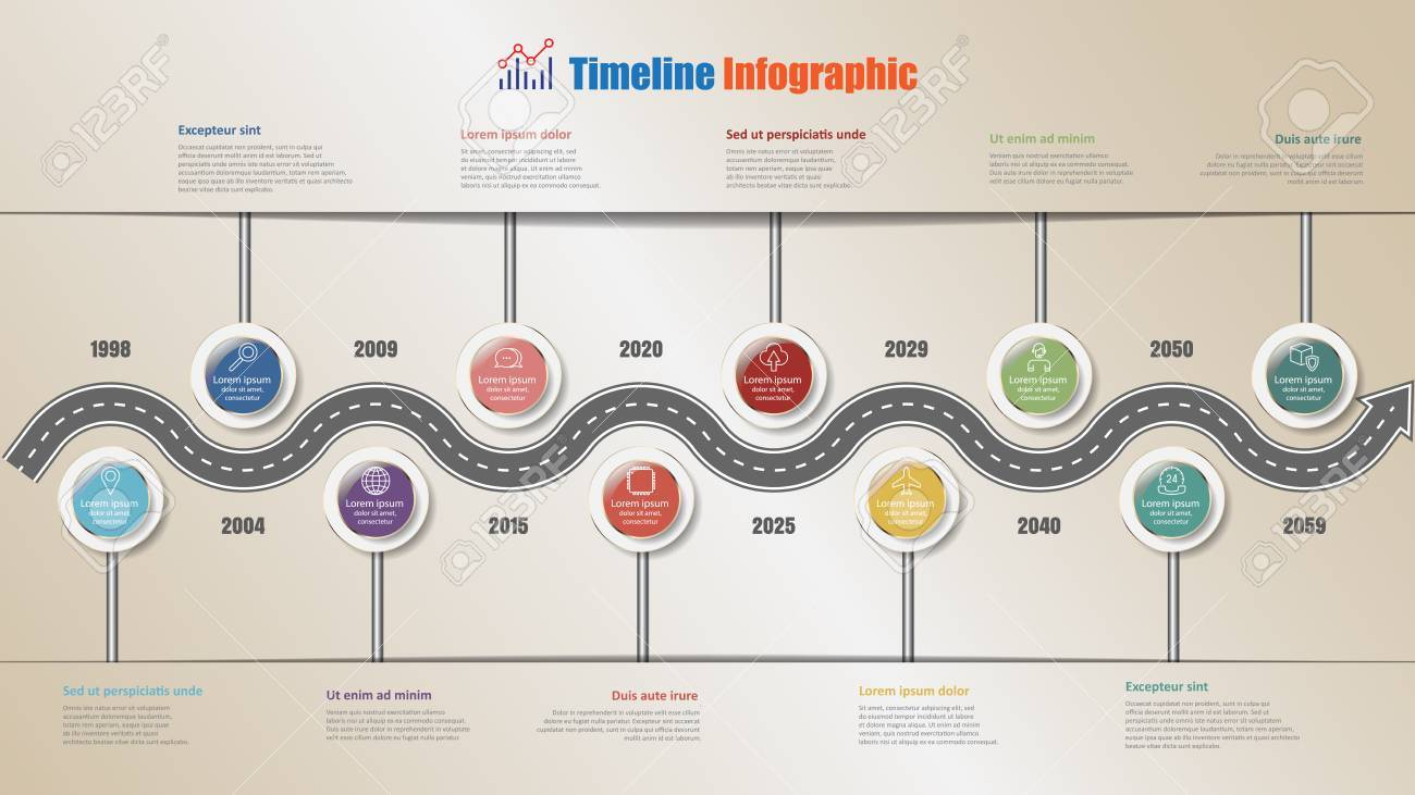 business road map timeline infographic with 10 steps circle design
