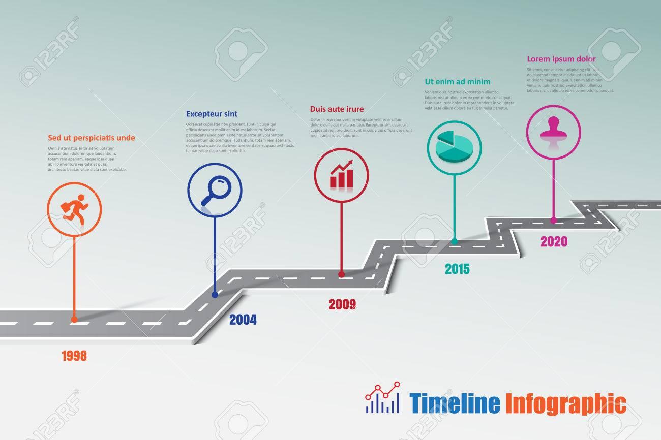 Mapa De Ruta Del Negocio Iconos Infográficos Diseñados Para La ...