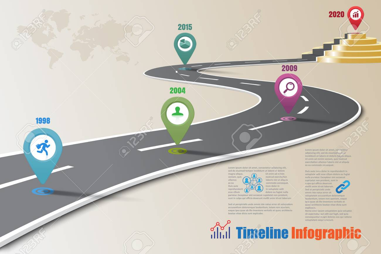 business road map timeline infographic designed for template milestone path way to podium vector illustration