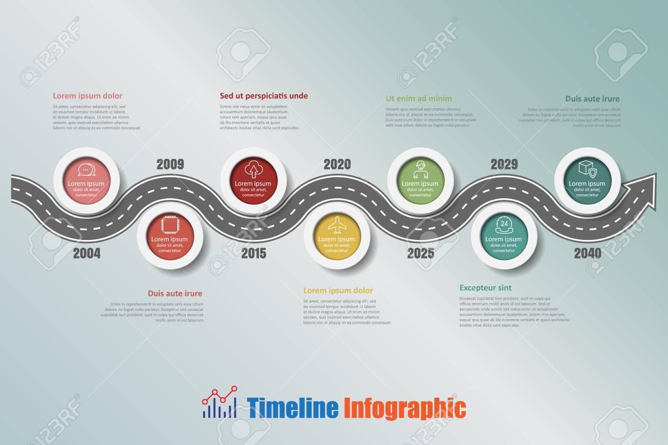 Hoja De Ruta De Negocio Timeline Infografía Con 7 Pasos Círculo ...