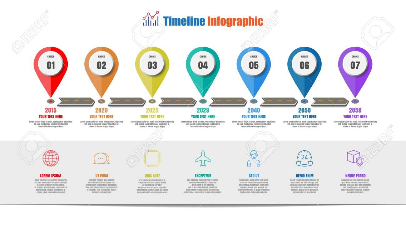 Road Map Infografía De Línea De Tiempo Con 7 Pasos De Diseño De ...