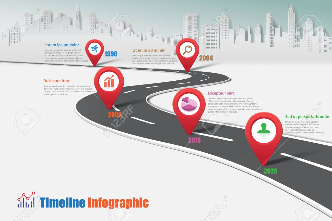 Business road map timeline infographic city designed for abstract background template milestone element modern diagram process technology digital marketing data presentation chart Vector illustration - 91264103