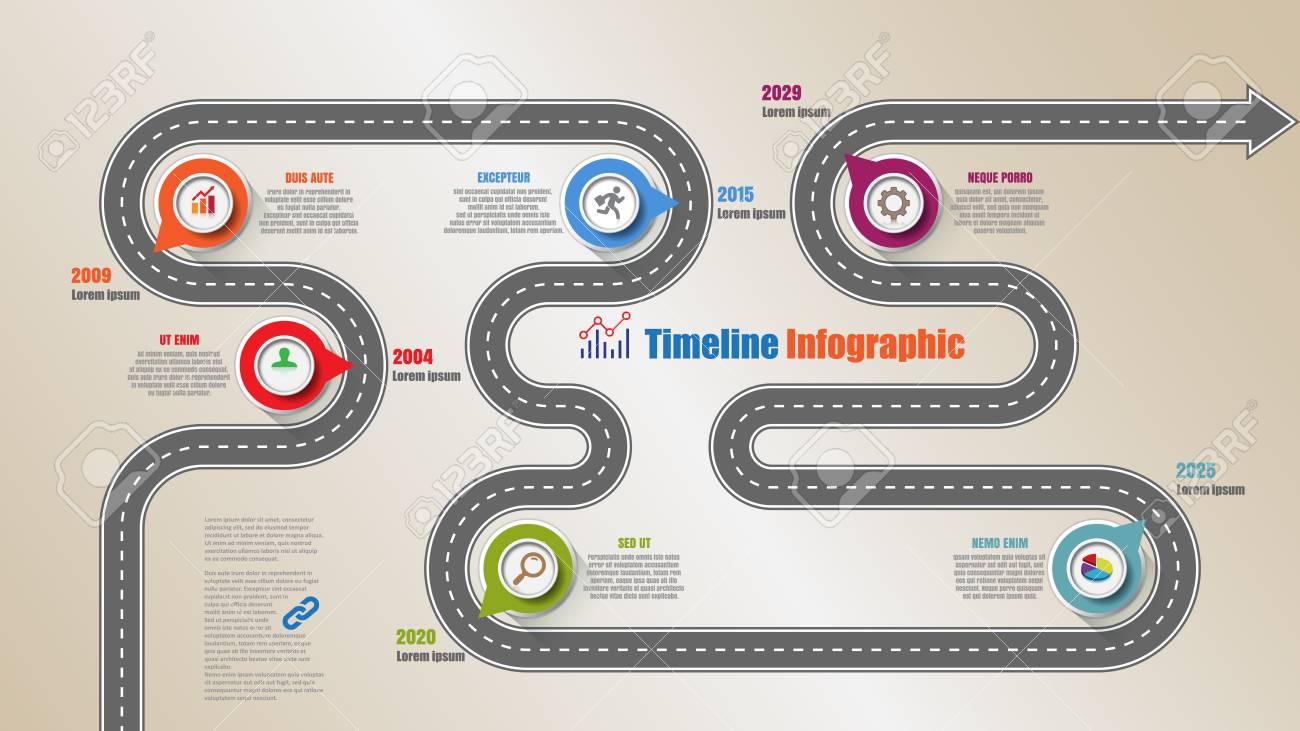 Mapa De Carretera Infografía De Línea De Tiempo Con 6 Pasos Círculo ...