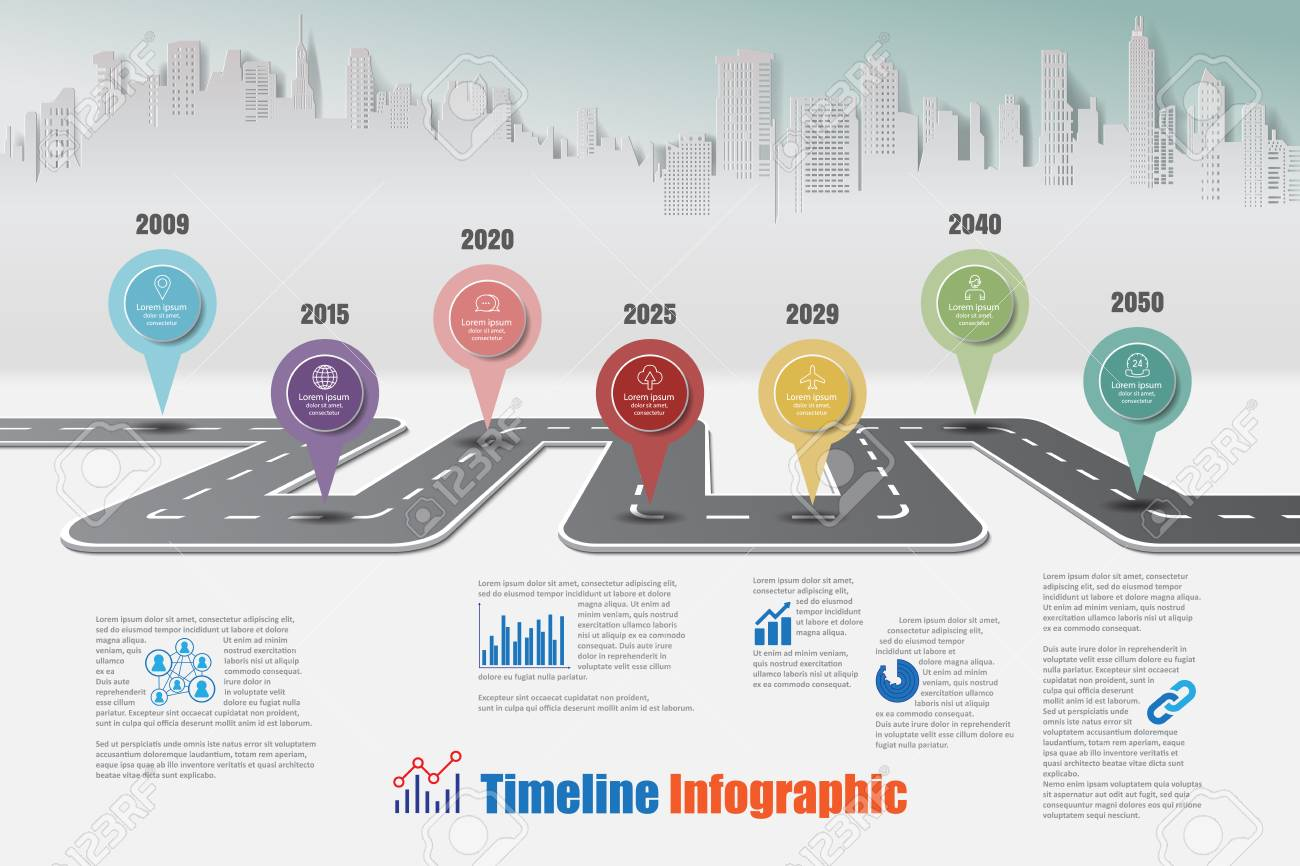 business road map timeline infographic city designed for abstract background template milestone element modern diagram process